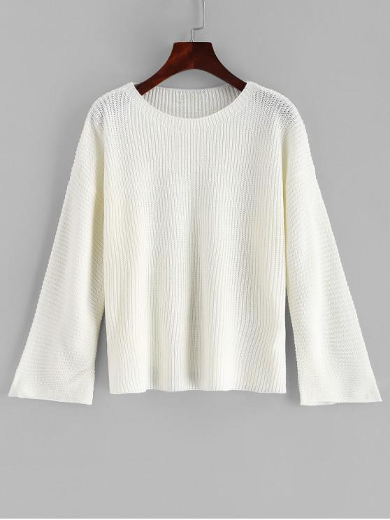 new Plain Pullover Flare Sleeve Sweater - MILK WHITE ONE SIZE