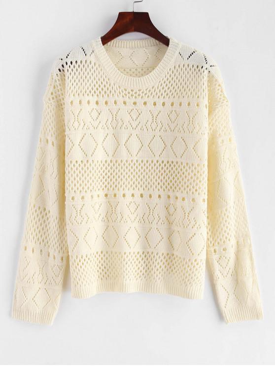 best Pullover Openwork Pointelle Sweater - WARM WHITE ONE SIZE