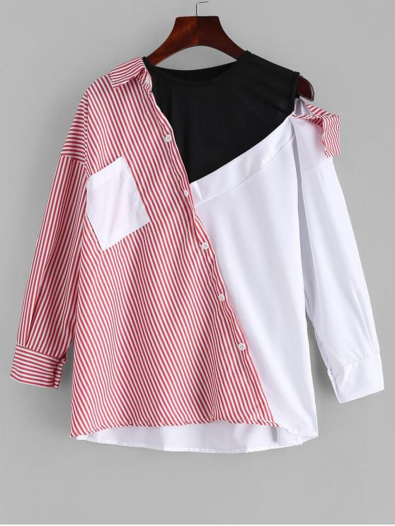 fancy Color Block Layered Effect Striped Spliced Shirt - MULTI L