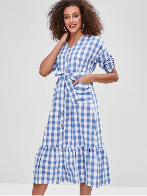 women Button Up Plaid Pockets Midi Dress - SKY BLUE M