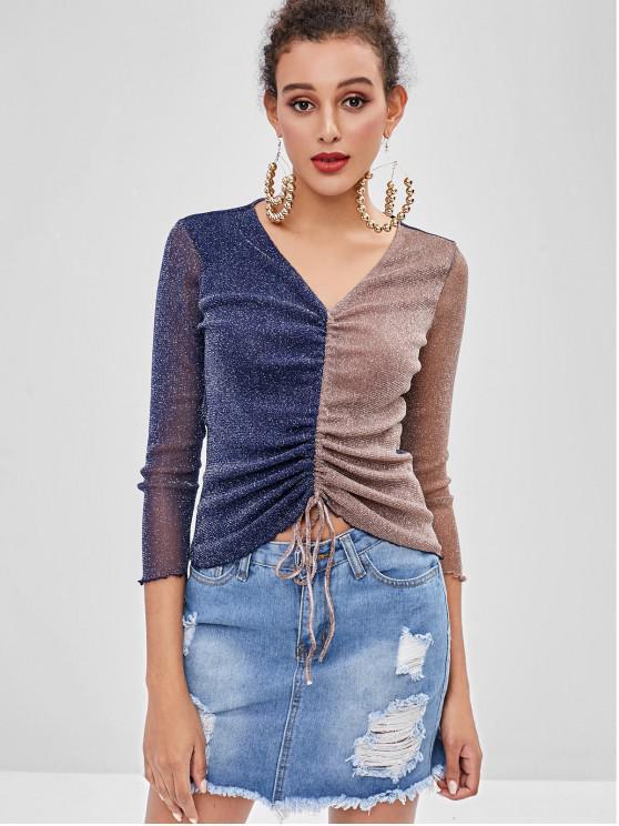 Glitzer-Farbblock-Cinched-T-Shirt - Multi-A M