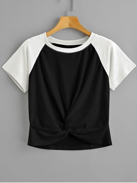 new Two Tone Twist Cropped Tee - BLACK S