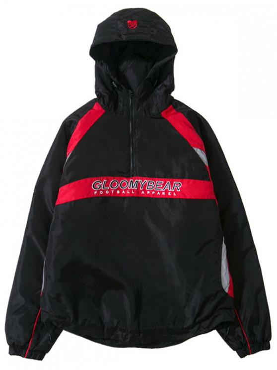 shops Letters Print Raglan Sleeves Hooded Parka Coat - BLACK L