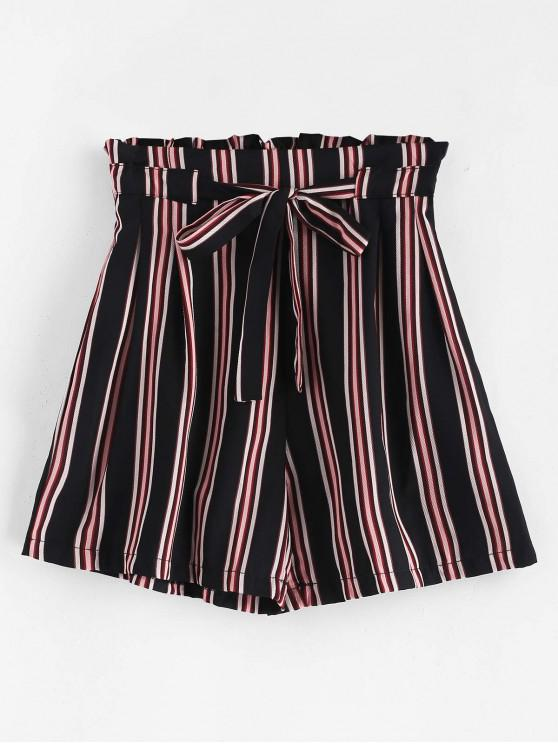 hot Tie Belt Striped High Waisted Shorts - MULTI L