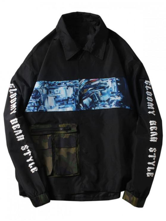 Camuflaje cremallera bolsillo letras imprimir chaqueta - Negro M
