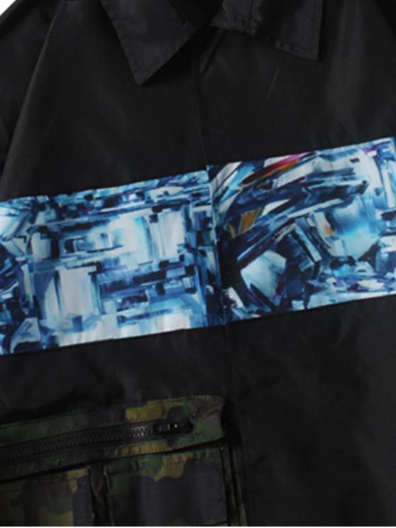Camouflage 2xl Veste Lettre Zippée Imprimée Avec PochesNoir bf6gIyvY7m