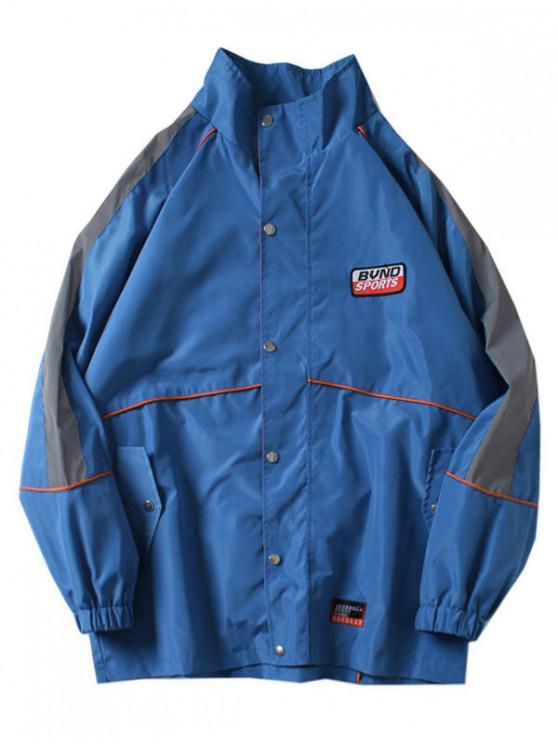 hot Applique Letters Print Raglan Sleeves Jacket - SILK BLUE 2XL
