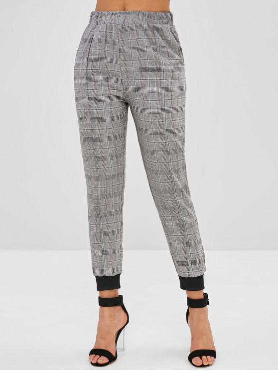 outfits High Waist Plaid Jogger Pants - GRAY M