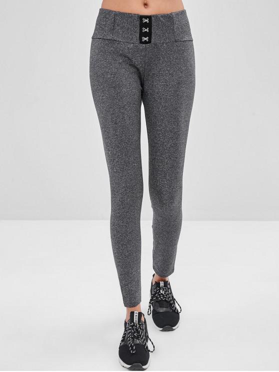 women Hook Front Skinny Leggings - GRAY L