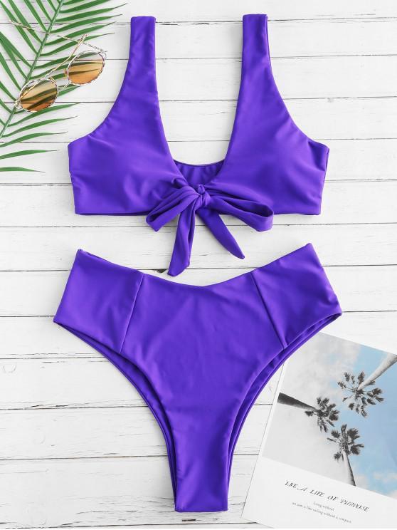latest Bowknot High Waisted Bikini Set - PURPLE AMETHYST M