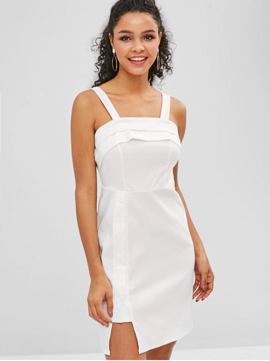 ZAFUL Mini vestido con botones en capas - Blanco L