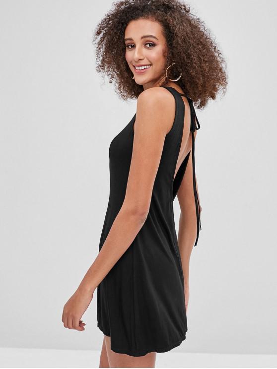 trendy Open Back Tank Dress - BLACK M