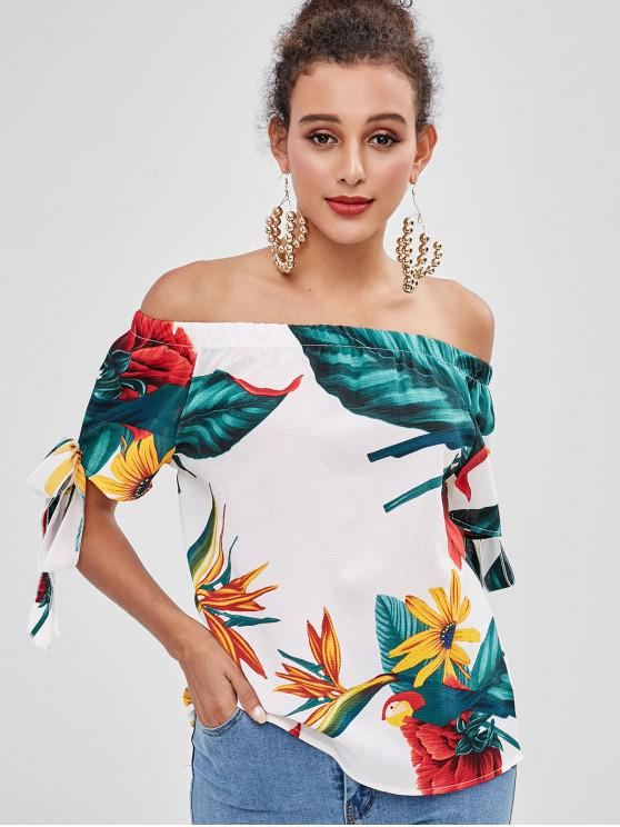 0cad97ca590e 23% OFF  2019 Floral Knotted Off Shoulder Top In WHITE