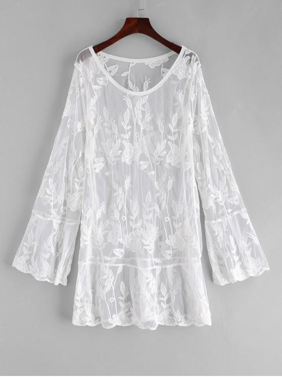 best Floral Lace Bell Sleeve Cover Up Dress - WHITE ONE SIZE