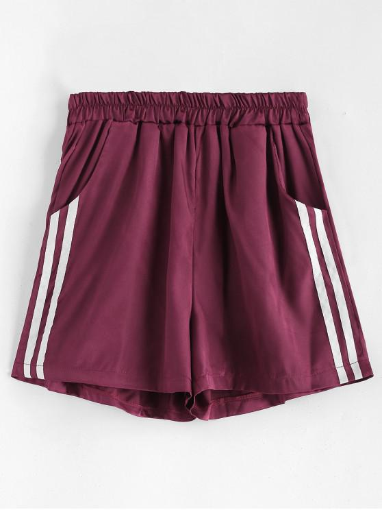affordable Silky Striped High Waisted Shorts - VELVET MAROON M