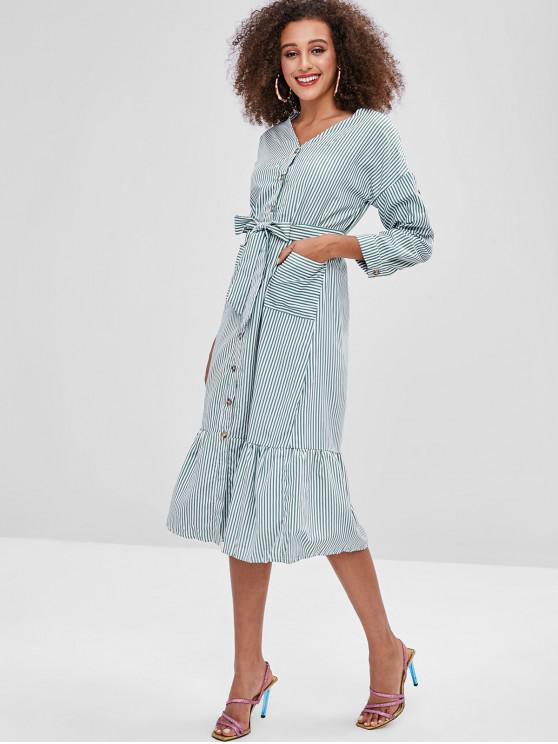hot Casual Stripes Button Up Midi Dress - GREEN M