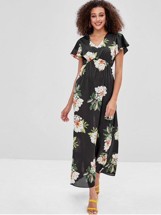 04dff12b608c 44% OFF] 2019 Flower Butterfly Sleeve Maxi Dress In BLACK | ZAFUL