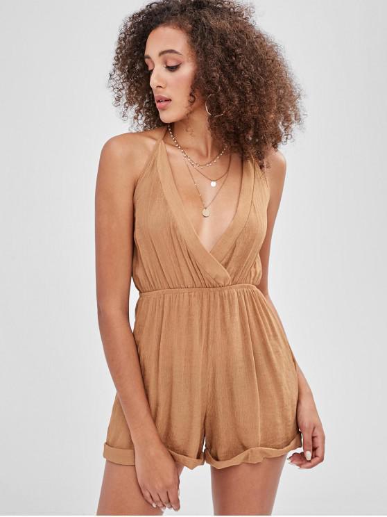 shop Cami Cuffed Surplice Romper - CAMEL BROWN M