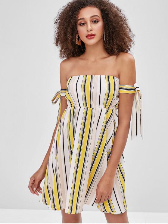465561ffcf2c 22% OFF  2019 ZAFUL Knotted Stripes Off Shoulder Dress In MULTI