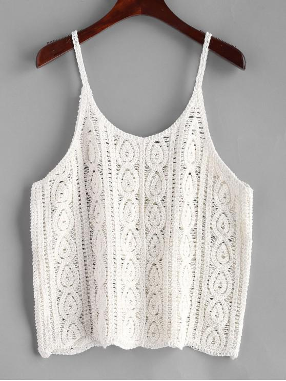 trendy Cami Crochet Tank Top - MILK WHITE ONE SIZE