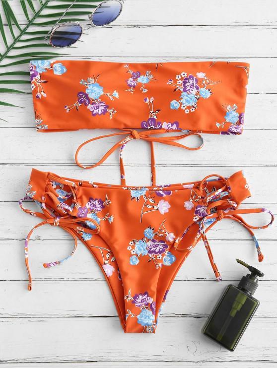 women ZAFUL Flower Lace Up Bandeau Bikini Set - MULTI-A M