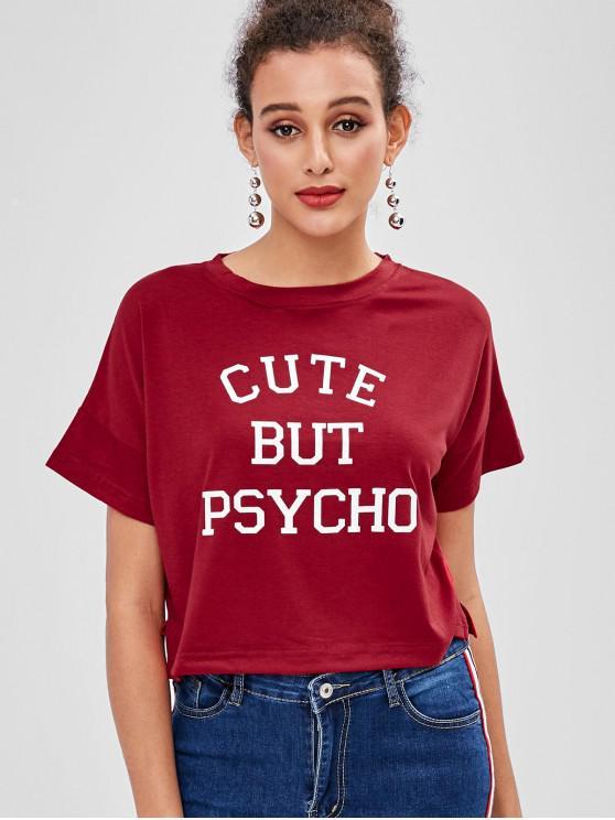 T-shirt Boxy graphique raccourci - Rouge Vineux XL