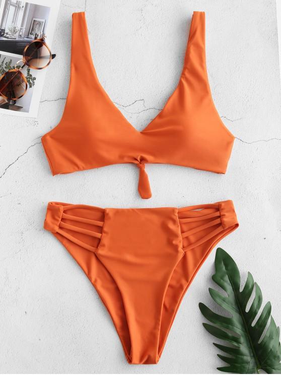 womens ZAFUL Knot Strappy Bikini Set - PAPAYA ORANGE S