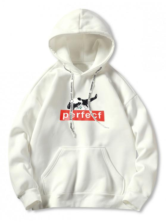 women Pocket Panda Print Graphic Hoodie - WHITE 3XL