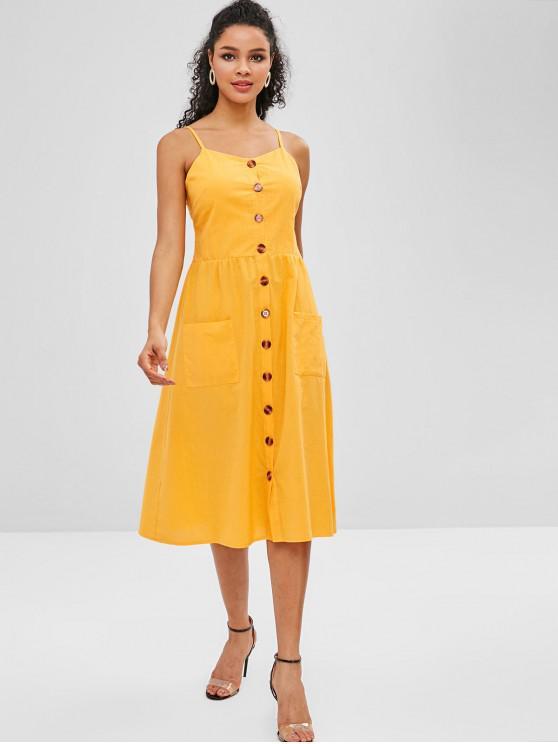 Smocked Cami-Kleid mit Knopfleiste - Goldgelb S