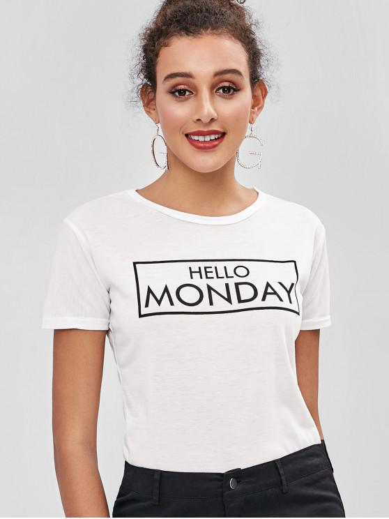 hot HELLO MONDAY Graphic Jersey Tee - WHITE 2XL