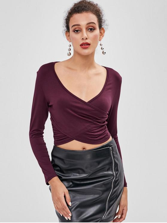 shops Plunging Surplice Crop T-shirt - RED WINE M