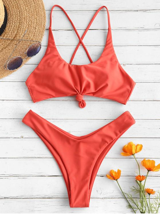 online ZAFUL Lace Up Knotted Bikini Set - BRIGHT ORANGE M