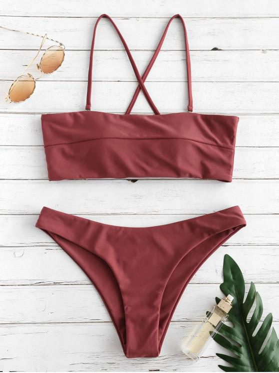 ZAFUL Bikini Criss Cross Seam Set - Castaña S