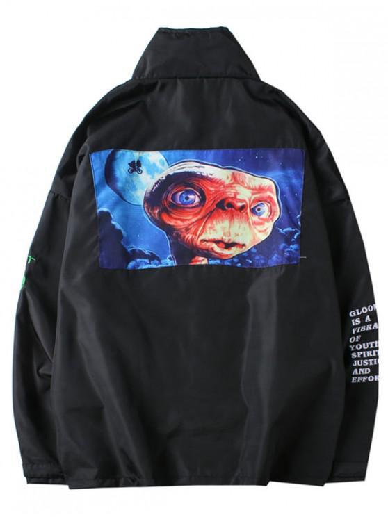 women's ET Alien Letters Print Jacket - BLACK L