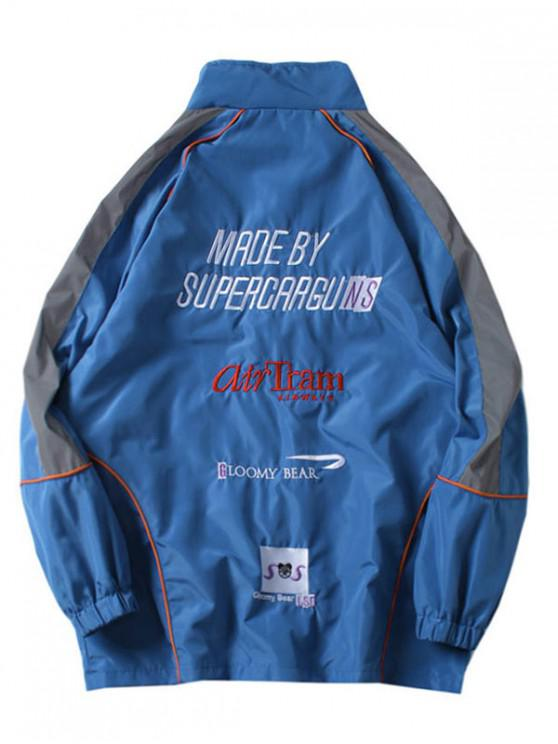 fashion Applique Letters Print Raglan Sleeves Jacket - SILK BLUE M