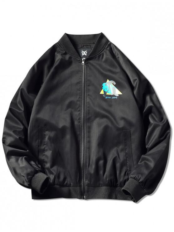 shops Zip Up Panda Print Graphic Jacket - BLACK 3XL