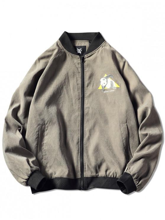 fashion Zip Up Panda Print Graphic Jacket - DARK GRAY L