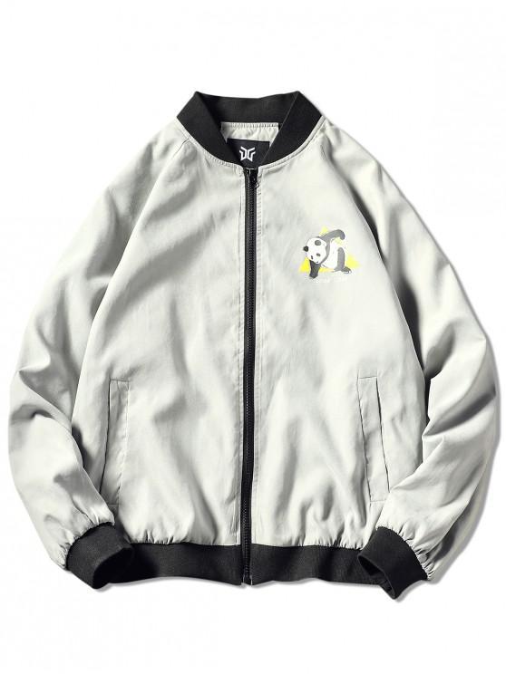 fancy Zip Up Panda Print Graphic Jacket - LIGHT GRAY 3XL