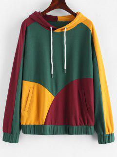 ZAFUL Color Block Drawstring Pocket Hoodie - Multi Xl
