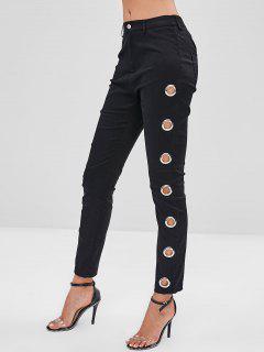 ZAFUL Skinny Grommet Pocket Pants - Black L
