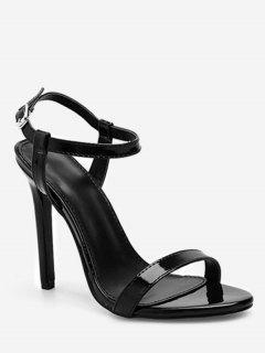 Single Strap Stiletto Heel Sandals - Black Eu 37