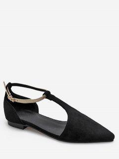 Pointed Toe Cut Ankle Strap Sandals - Black Eu 36