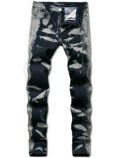 Ink Painting Long Straignt Jeans - Dark Slate Grey 36