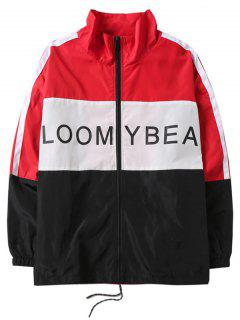 Letters Print Panel Drawstring Casual Jacket - Red L