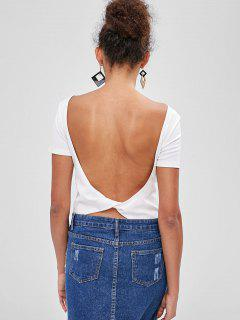 ZAFUL Backless Cut Out Bodysuit - White Xl