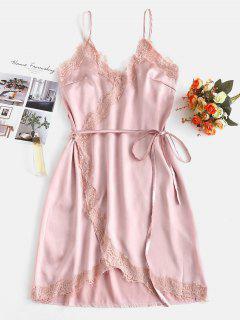 Pyjama-Kleid Aus Satin Mit Wickeleffekt - Rosa Rose S