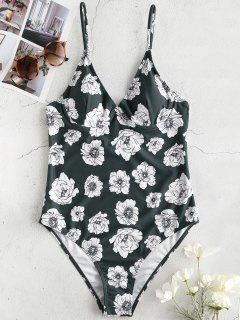 ZAFUL Floral Underwire One Piece Swimsuit - Medium Sea Green S