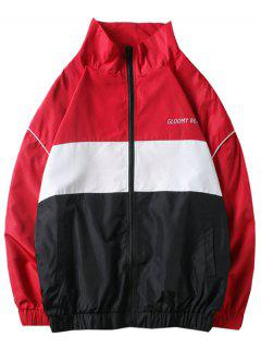 Letters Printed Panel Casual Jacket - Red L