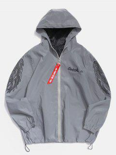 Wings Letter Graphic Reflective Light Jacket - Gray M