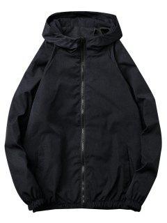 Casual Solid Windbreaker Jacket - Black Xl